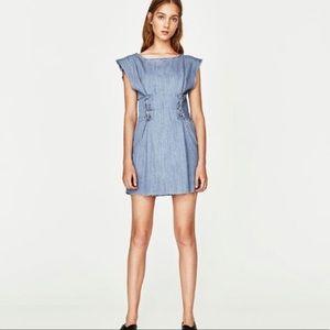 Zara Trafaluc Denim Lace up Dress